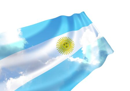 Flag of Argentina over the sky, waving in the wind