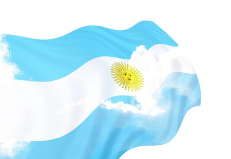 clipped: Flag of Argentina over the sky,waving in the wind