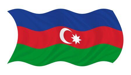 azerbaijan: Flag of Azerbaijan, waving in the wind