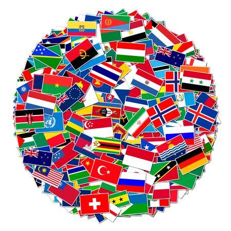 Inzameling van wereldvlaggen op geïsoleerd wit