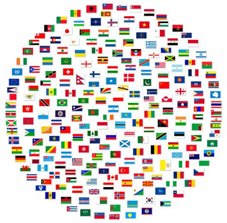 world group: Collection of world flags on white isolated