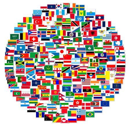 Inzameling van wereldvlaggen op geïsoleerd wit, illustratie