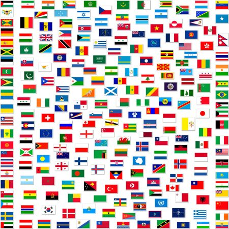 all european flags: Collection of world flags on white isolated, illustration