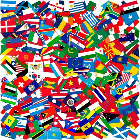Collection of world flags on white isolated,illustration 版權商用圖片