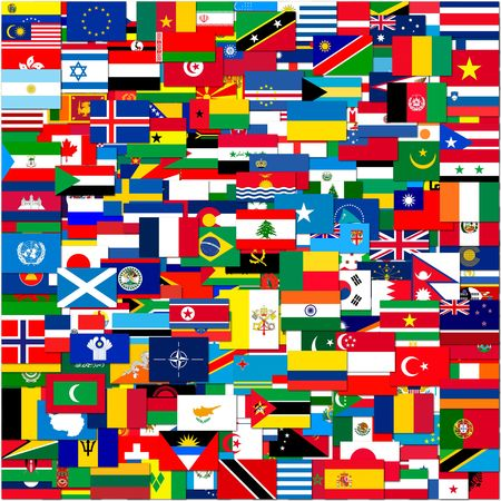 group travel: Collection of world flags on white isolated, illustration
