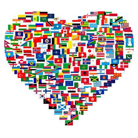 Inzameling van wereldvlaggen op geïsoleerd wit, illustratie Stockfoto - 6764099