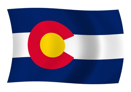 winning location: Illustration of Colorado State flag waving in the wind