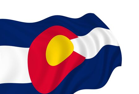 Illustration of Colorado State flag waving in the wind illustration