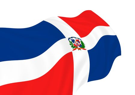 dominican republic: Illustration of Dominican Republic flags waving in the wind