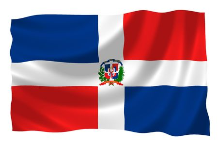 trade union: Illustration of Dominican Republic flags waving in the wind