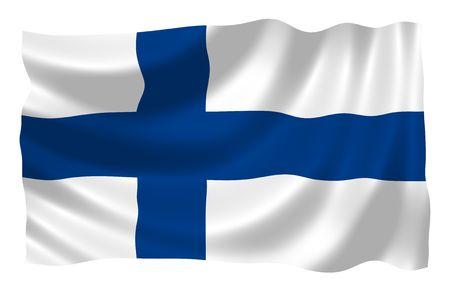 bandera de finlandia: Ilustraci�n de Finlandia bandera ondeando en el viento