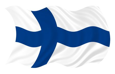Illustration of Finland flag waving in the wind Stock Photo