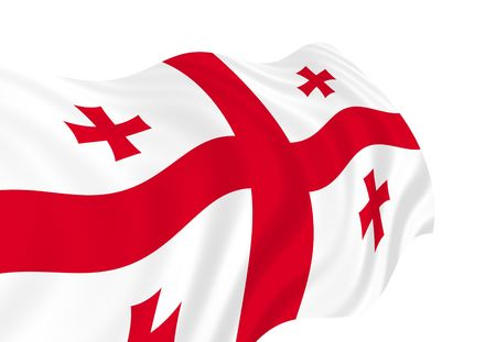 Illustration of Georgia flag waving in the wind Stock Photo