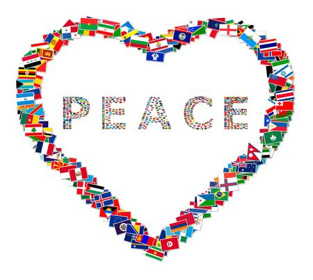 world group: Illustration of heart with word PEACE inside, made from world flags, illustration