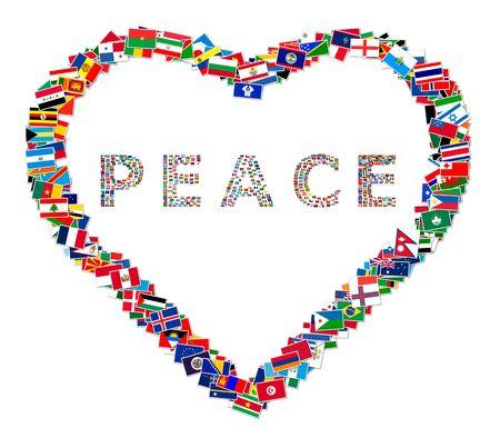 paz mundial: Ilustraci�n de coraz�n con la palabra paz en su interior, hecha de banderas del mundo, ilustraci�n Foto de archivo