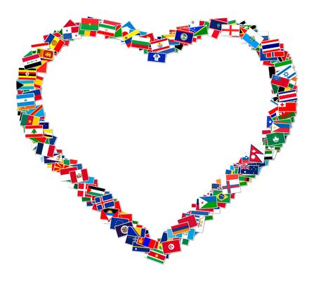 Illustration of heart made from world flags, illustration illustration