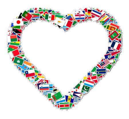 Illustratie van hart gemaakt van wereld vlaggen