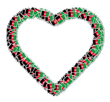 signifier: Illustration of heart made from flags of Afganistan