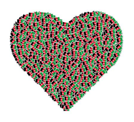 signifier: Illustration of heart made from flags of Afghanistan