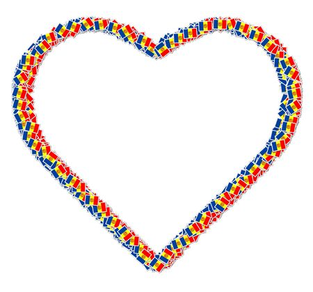signifier: Illustration of heart made from flags of Andorra Stock Photo