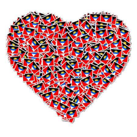 antigua: Illustration of heart made from flags of Antigua and Barbuda