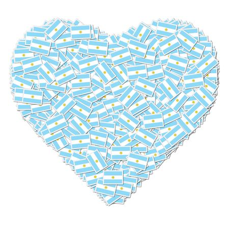 Illustration of heart made from flags of Argentina Фото со стока