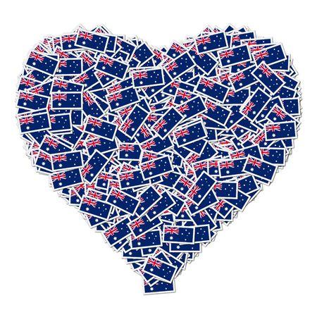Illustratie van hart gemaakt van vlaggen van Australië Stockfoto