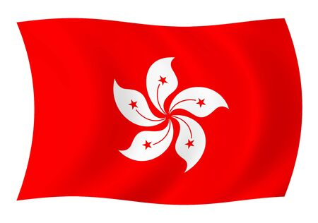 Flag of Hong Kong waving in the wind