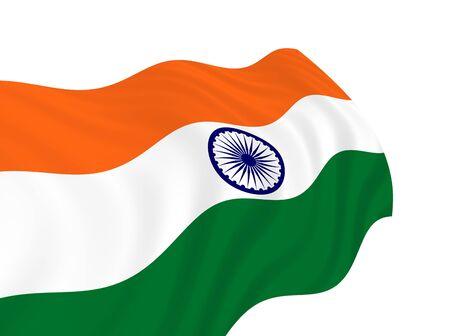 바람에 물결 치는 인도의 국기