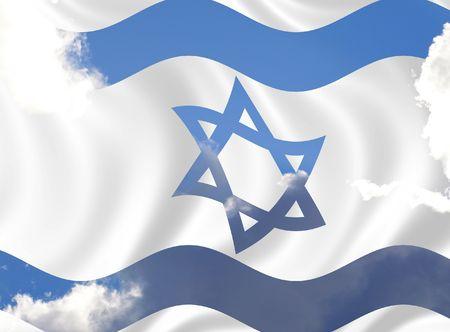 Illustratie van Israël vlag wappert in de wind over bewolkte hemel Stockfoto