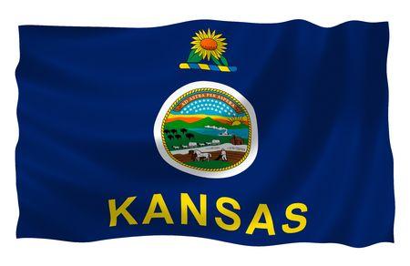 Afbeelding van Kansas state vlag wappert in de wind  Stockfoto - 6763841