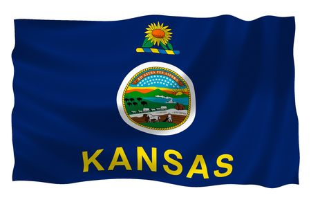 Illustration of Kansas state flag waving in the wind Stock Photo