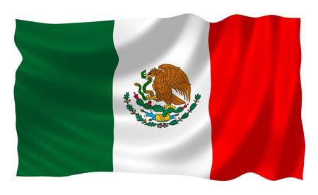 bandera mexicana: Mexiacan bandera ondeando en el viento Foto de archivo