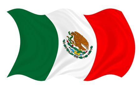 Mexicaanse vlag zwaaien in de wind