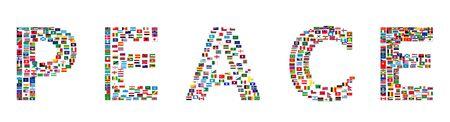 La paz Word hecha de banderas del mundo, ilustración  Foto de archivo - 6763916