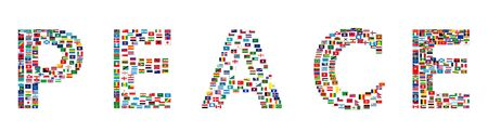 all european flags: Word PEACE made from World flags, illustration Stock Photo