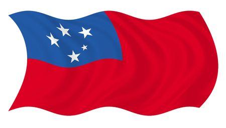pin board: Illustration of Samoa flag  waving in the wind