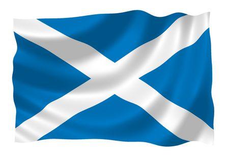 Ilustración de Escocia bandera ondeando en el viento  Foto de archivo