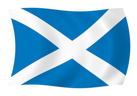 スコットランドの旗を風になびかせてのイラスト