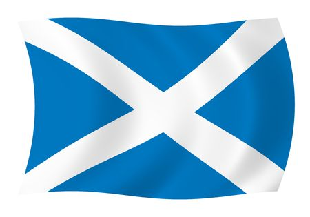 Illustration of Scotland flag waving in the wind