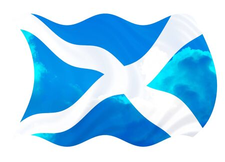 scottish: Illustration of Scotland flag over the sky, waving in the wind