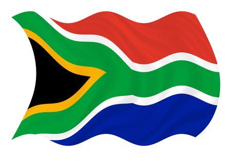 바람에 물결 치는 남아공의 국기 스톡 콘텐츠