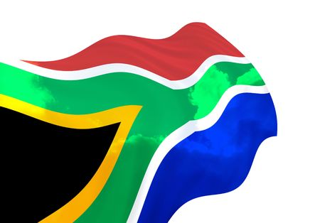Flag of South Africa over the sky, waving in the wind Imagens