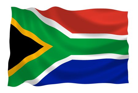 south african: Flag of South Africa waving in the wind