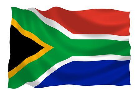 Vlag van Zuid-Afrika met in de wind
