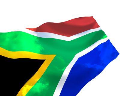 바람에 물결 치는 하늘을 나는 남아프리카 공화국의 국기