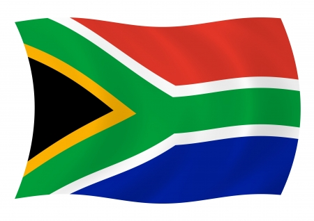 south africa flag: Flag of South Africa waving in the wind