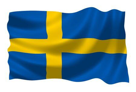 sweden flag: Illustration of Sweden flag waving in the wind