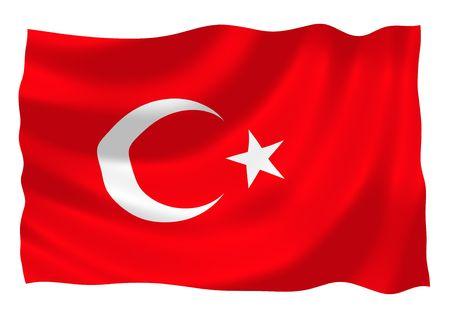 Illustration of Turkey flag waving in the wind illustration