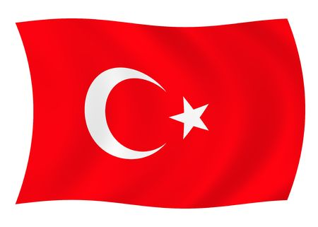 Illustration of Turkey flag waving in the wind